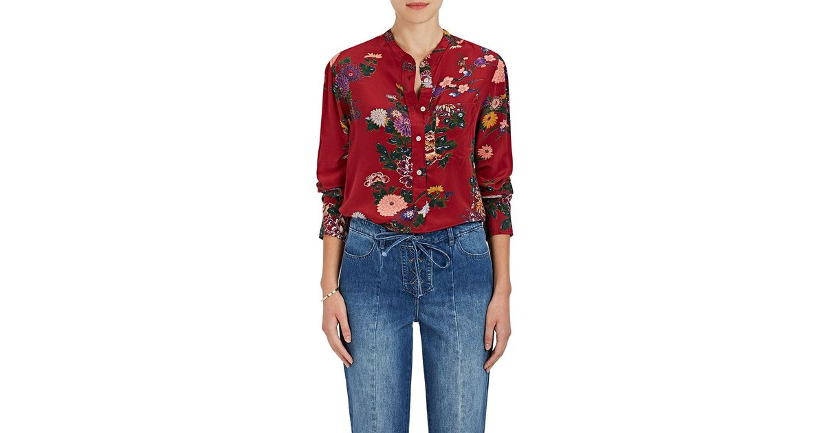 566e207b8296b2 Lyst - Isabel Marant Rusak Floral Silk Tunic Blouse in Red