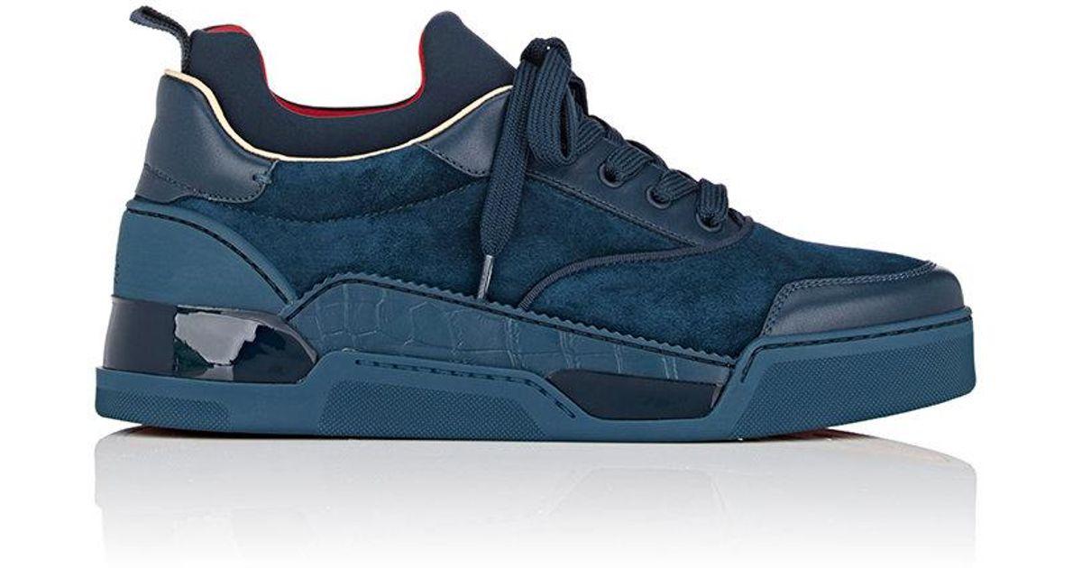 aefbdb892595 ... mens sneakers 269708 1csrl2wj 42a10 06534 clearance lyst christian  louboutin aurelien flat sneakers in blue for men 5b0d4 b2cd7 hot shoes ...