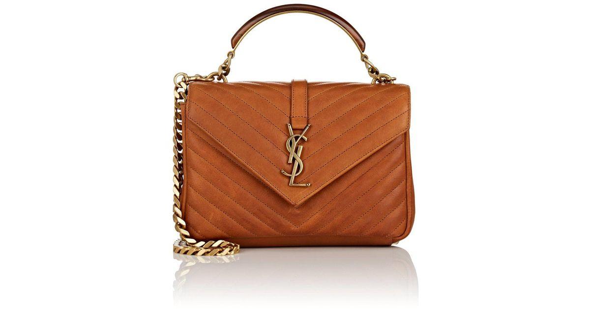 91f6b90c366 Saint Laurent Monogram College Medium Leather Shoulder Bag in Brown - Lyst