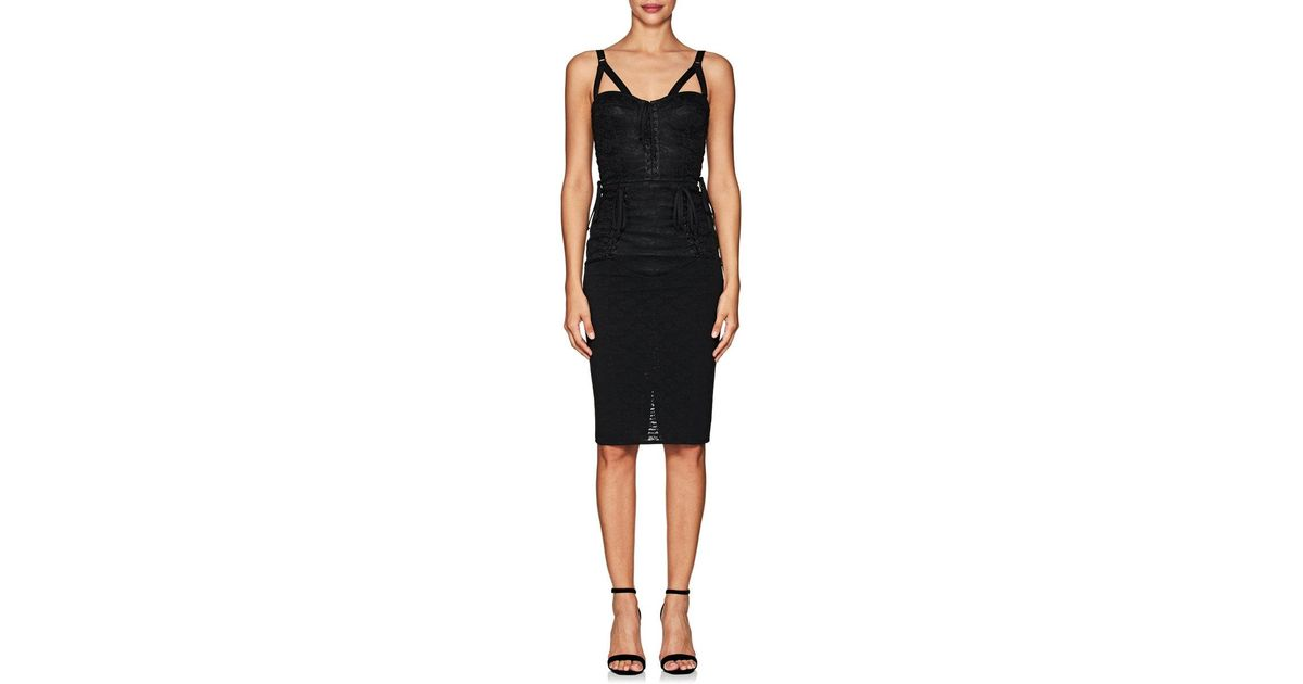 Lyst Dolce Gabbana Floral Jacquard Fitted Bustier Dress In Black