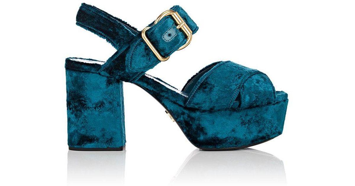 d145e7cfa4e150 Prada Crushed Velvet Platform Sandals in Blue - Lyst