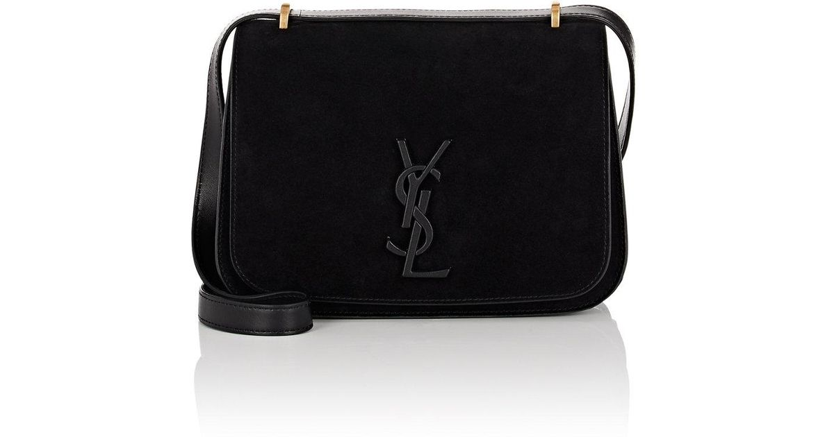 7b1914441f Lyst - Saint Laurent Spontini Small Suede Saddle Bag in Black