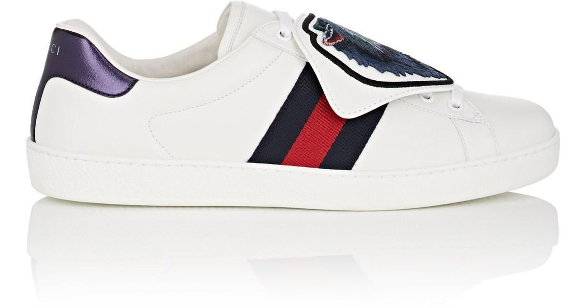 e54f0f51a Gucci Ace Embroidered Watersnake And Leather All White Gucci Ace: Gucci New  Ace Wolf-patch Leather Trainers In White For