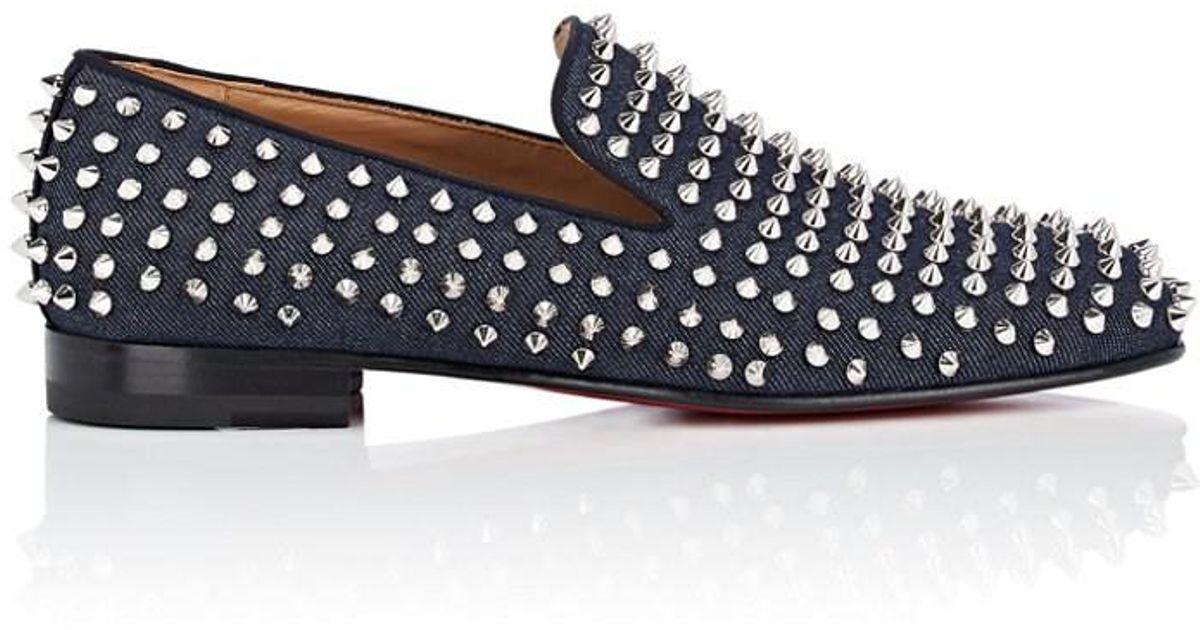 1b9b14b4ec74 Lyst - Christian Louboutin Rollerboy Spikes Flat Denim Venetian Loafers in  Blue for Men