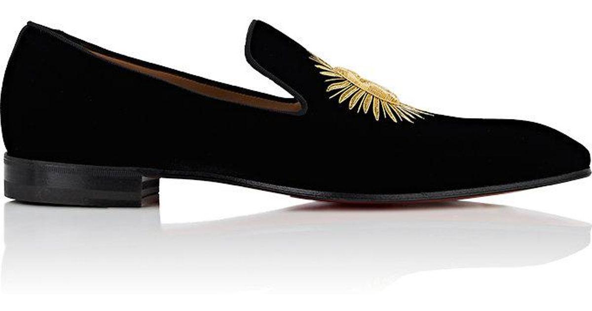 11fa8125c419 Christian Louboutin Morning Dandelion Velvet Slippers in Black for Men -  Save 6% - Lyst
