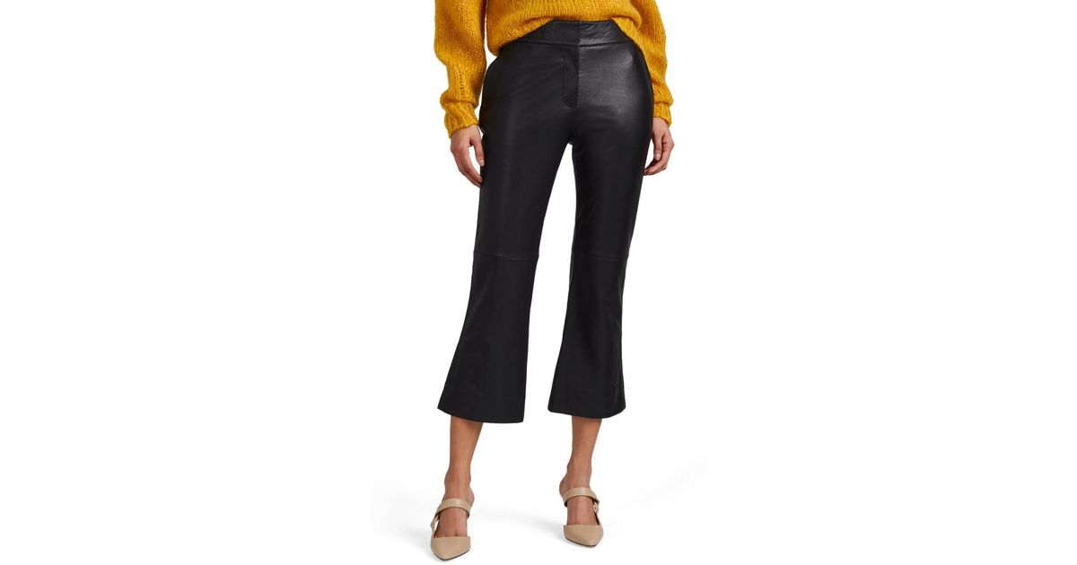 c0f5139aed4d82 Barneys New York Leather Crop Flare Trousers in Black - Lyst