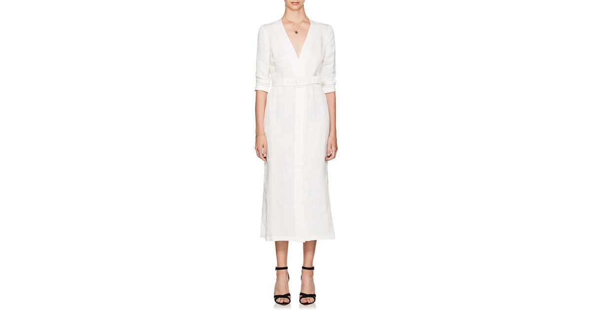 d584bdafbf8 Lyst - Sir. The Label Emmanuel Linen-blend Midi-dress in White