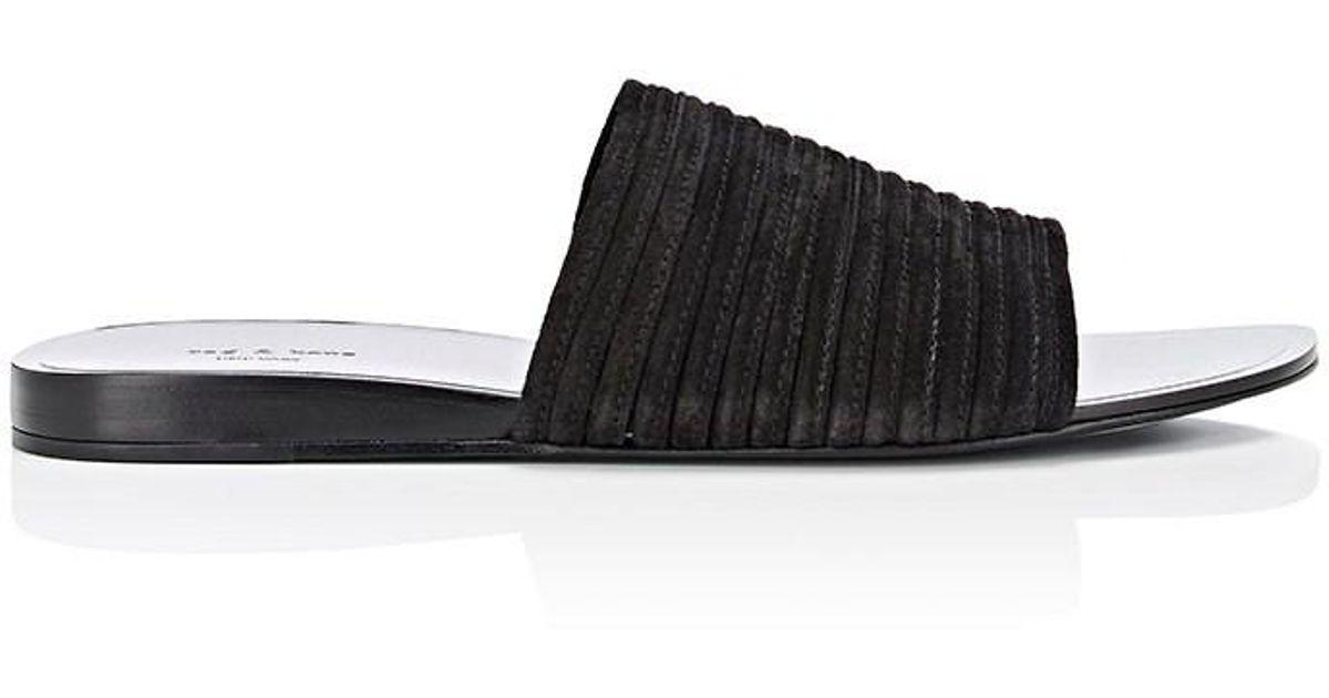 bfbdc62ec0ca79 Lyst - Rag   Bone Cameron Suede Slide Sandals in Black - Save  50.279329608938546%