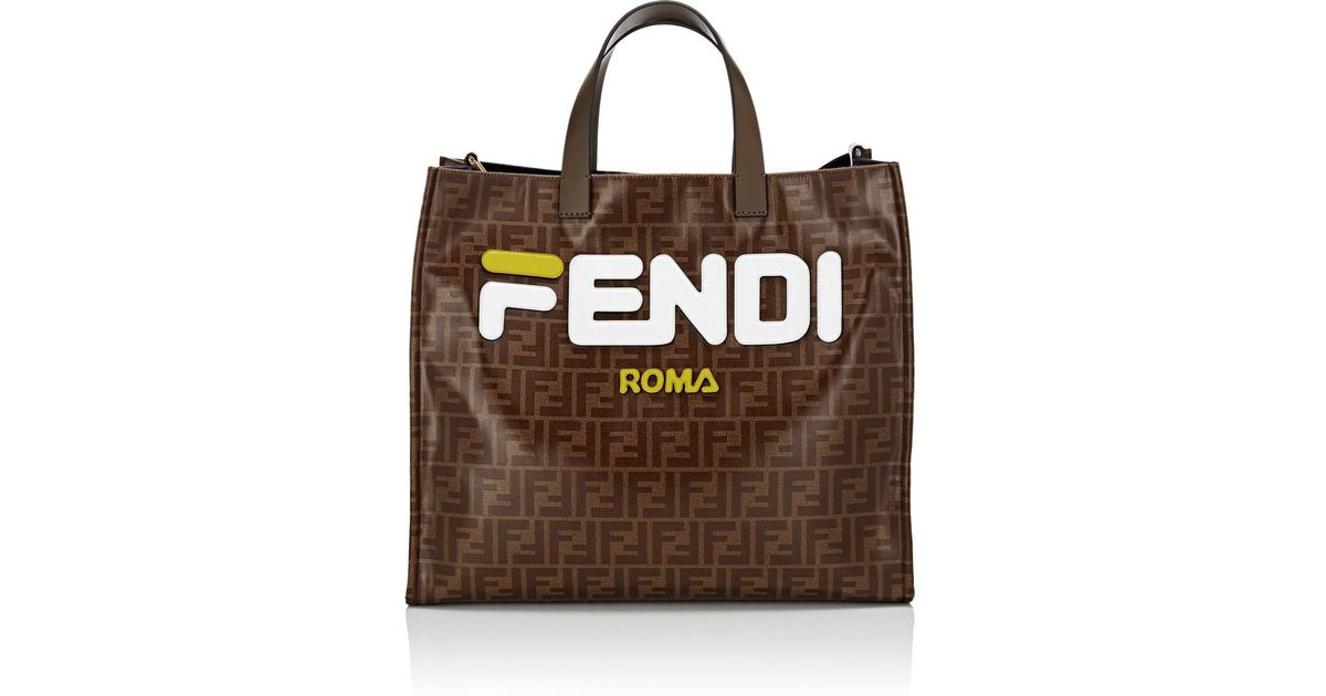 a8de2d39b07 Fendi Shopping Small Coated Canvas Tote Bag in Brown - Lyst