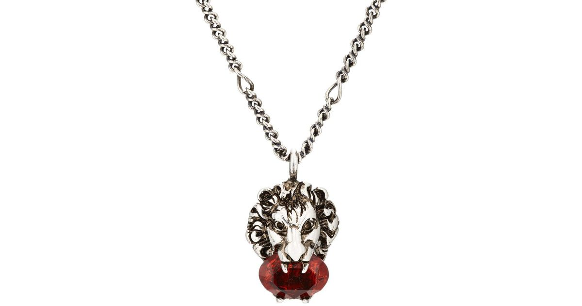 110fbec49 Gucci Lion Head Pendant Necklace In Metallic For Men Lyst