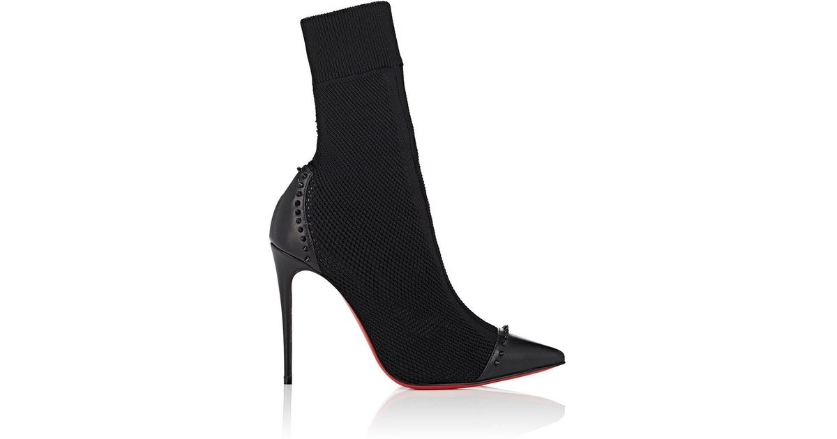 Lyst - Christian Louboutin Dovi Dova Knit   Leather Ankle Boots in Black a2567d31ed38