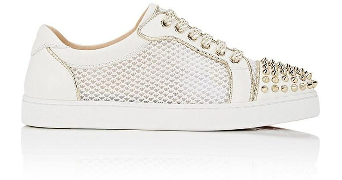 d0f0c14e229e Lyst - Christian Louboutin Ac Viera Spikes Flat Leather   Mesh Sneakers in  White