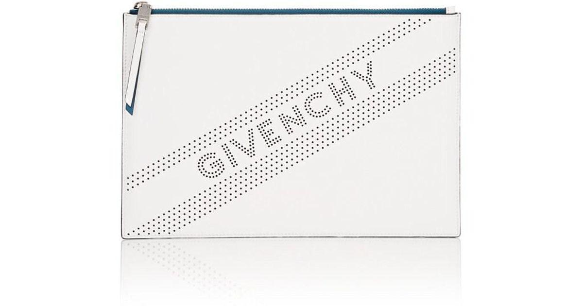 Lyst - Givenchy Perforated Logo Medium Clutch Bag in White - Save 33% da7b3f5908773