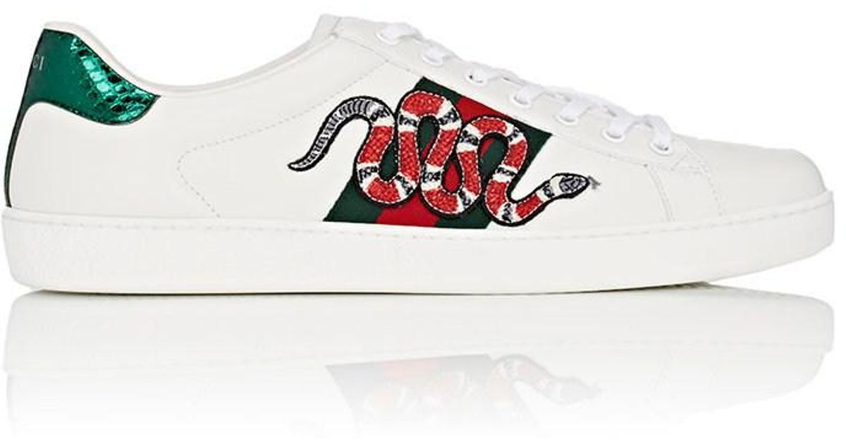c093ab08e78 Gucci Ace Watersnake-trimmed Appliquéd Leather Sneakers in White for Men -  Save 20% - Lyst