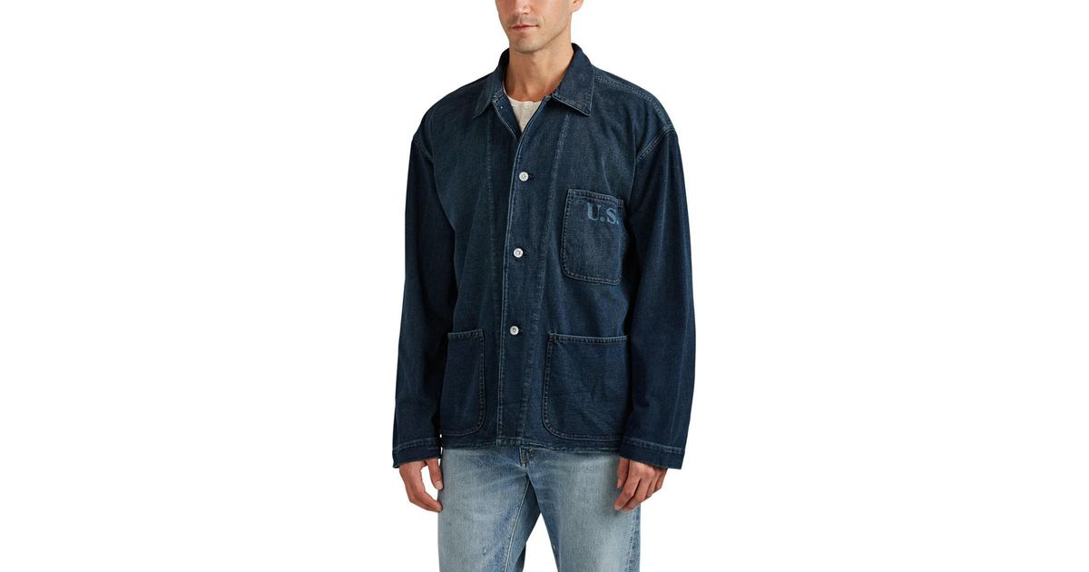 baebbbf766 Lyst - Rrl Cotton Shirt Jacket in Blue for Men