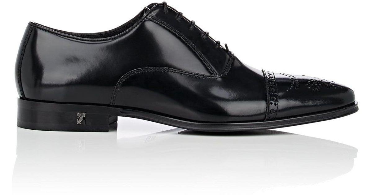 8e376bf6b26 Lyst - Versace Spazzolato Leather Cap-toe Balmorals in Black for Men