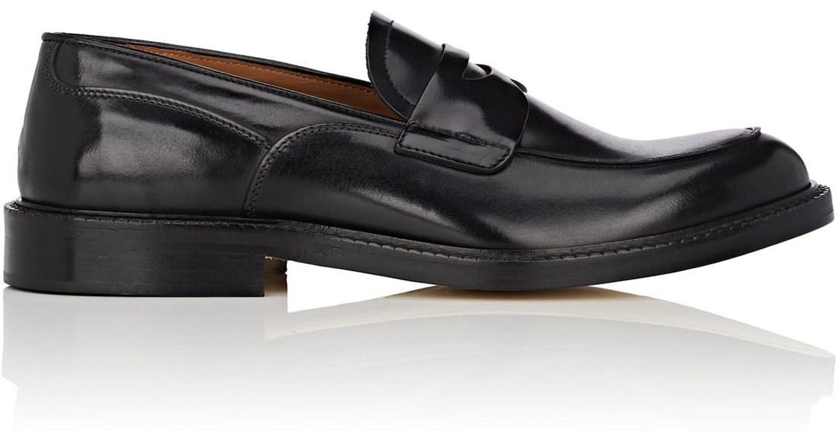 5234758045d3e Lyst - Barneys New York Burnished Leather Penny Loafers in Black for Men
