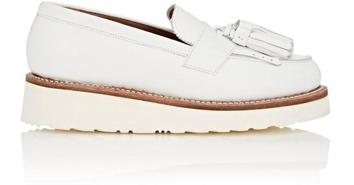 5d16b978c0c Grenson Clara Leather Wedge Loafers in White - Lyst