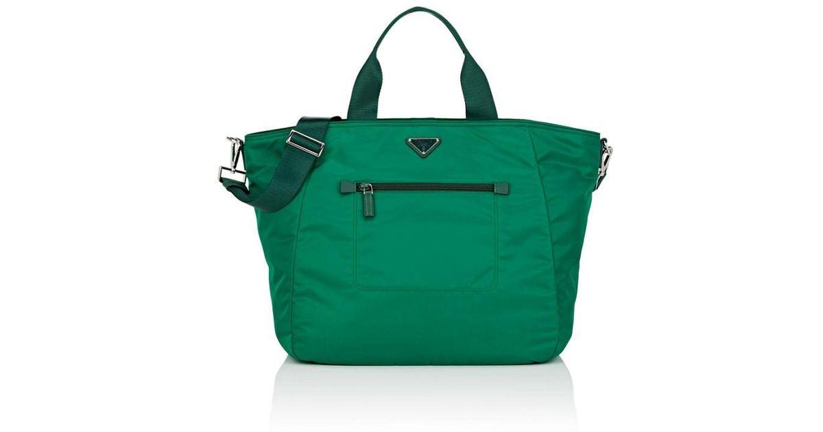 4da1b4624652 ... discount lyst prada tech gabardine tote in green bcb11 5664d