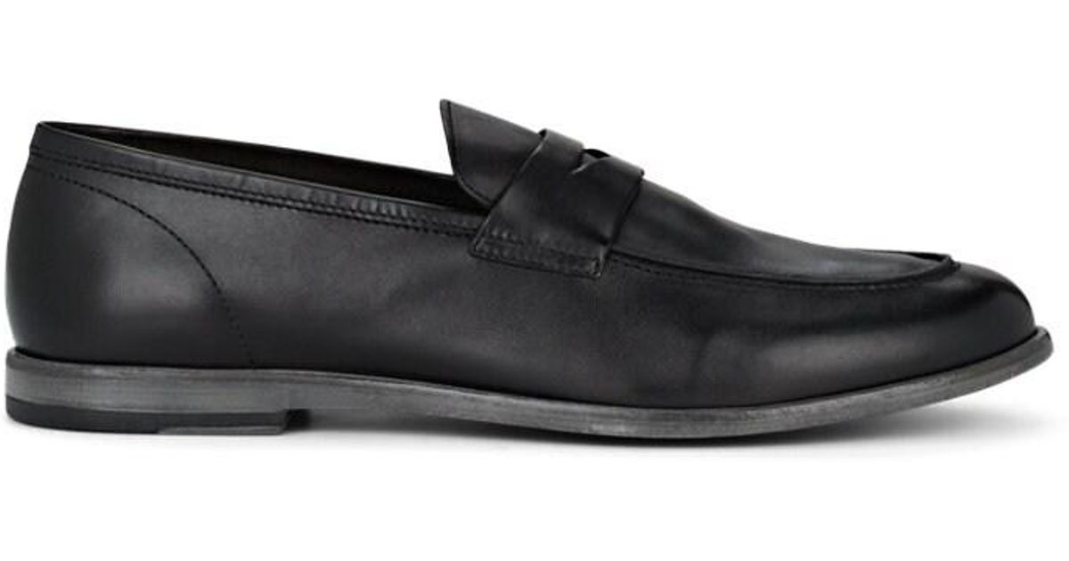 74f07332898ac Lyst - Barneys New York Dakota Leather Penny Loafers in Black for Men
