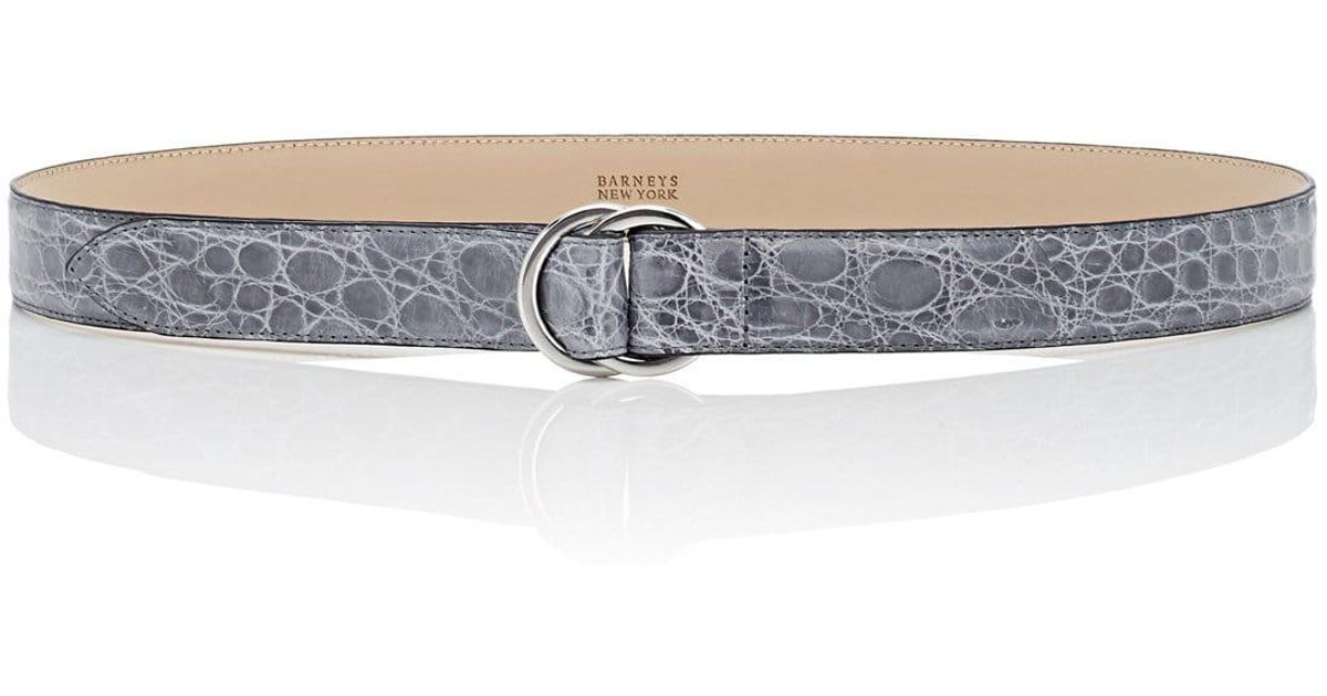 145b75e365a49 Lyst - Barneys New York Double-ring Crocodile Leather Belt in Gray for Men