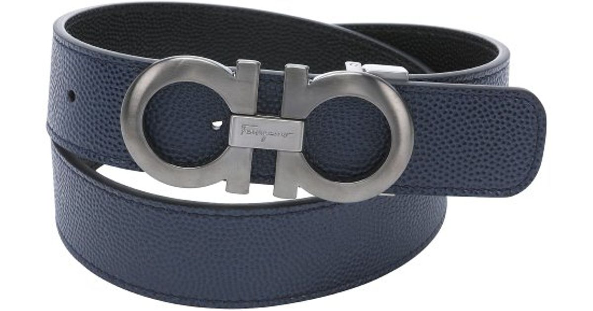 1bc9a0e44c2c3 ... new arrivals lyst ferragamo ultramarine and black pebbled calfskin  reversible gancini buckle belt in blue for