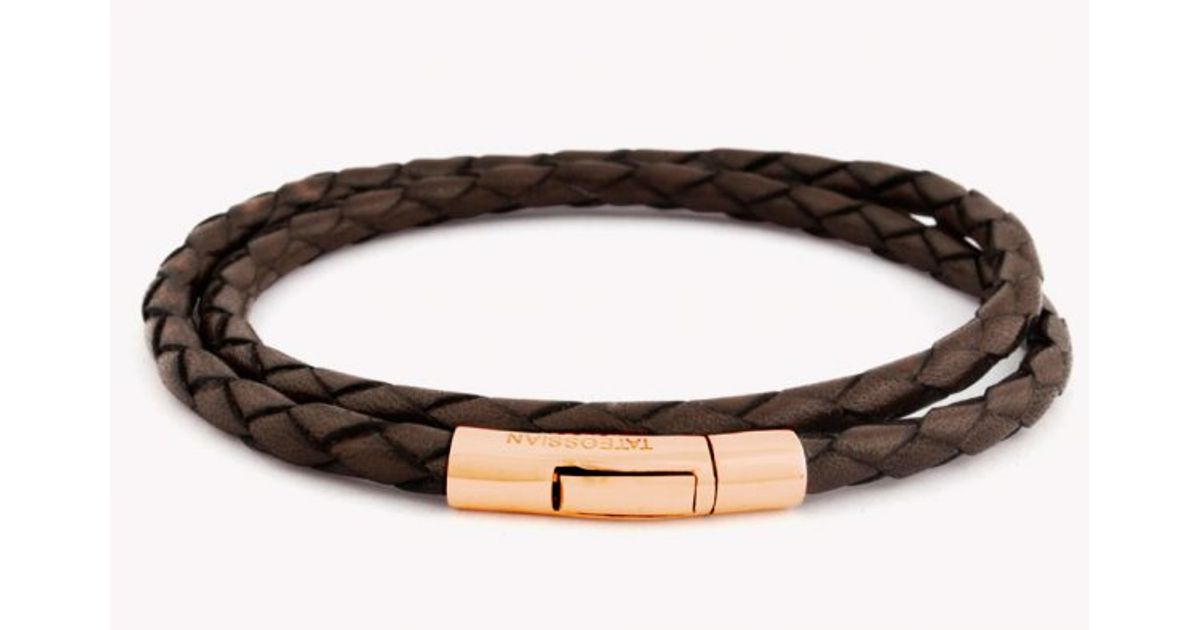 Tateossian Double Wrap Scoubidou Brown Leather Bracelet With 18k Rose Gold Clasp In For Men Lyst
