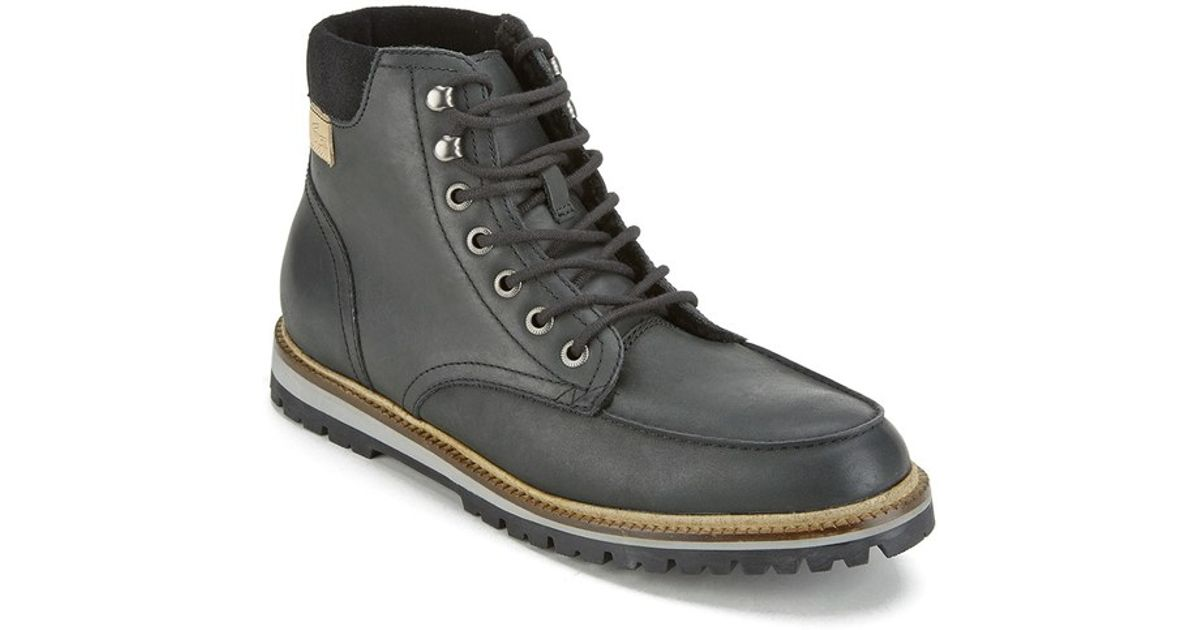 06e6629b55a324 Lacoste Men s Montbarb Leather Lace Up Boots in Black for Men - Lyst