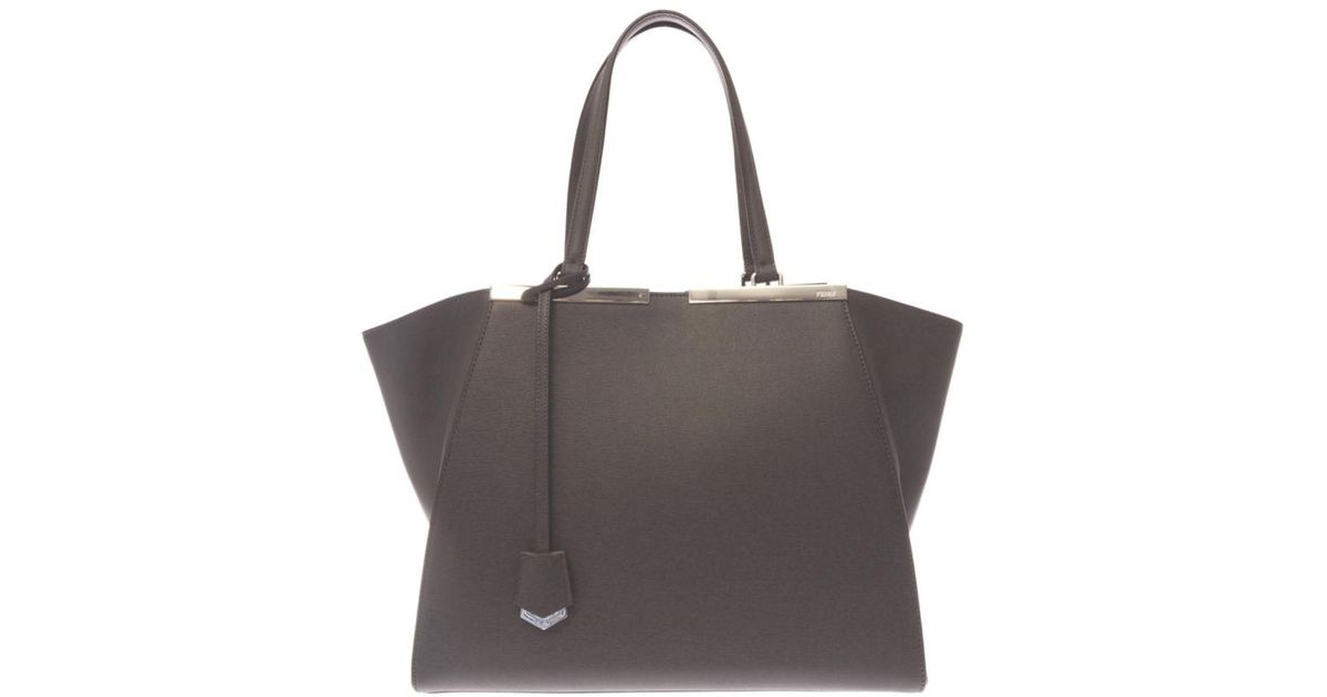 Lyst - Fendi 3Jours Trapeze Wing Leather Tote in Gray b42d226cb3468