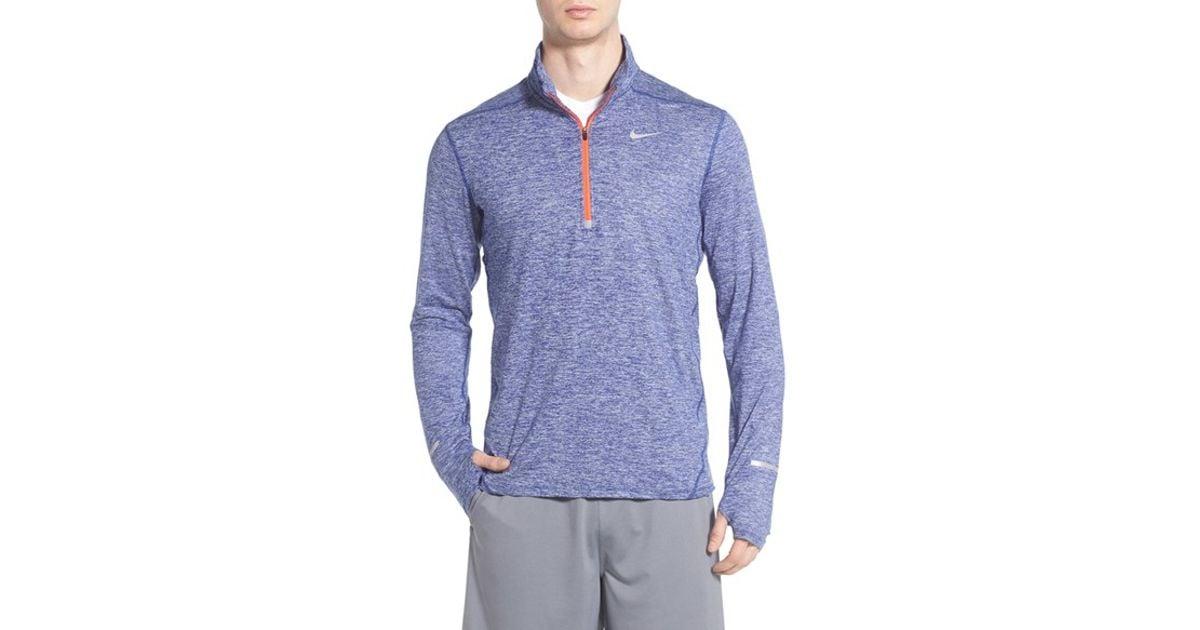 Nike 39 Element 39 Dri Fit Quarter Zip Running Top In Blue For