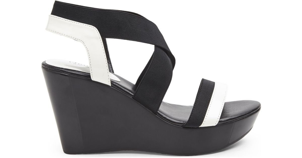 Lyst - Charles David Black   White Feature Wedge Sandals in White 864583f896c4