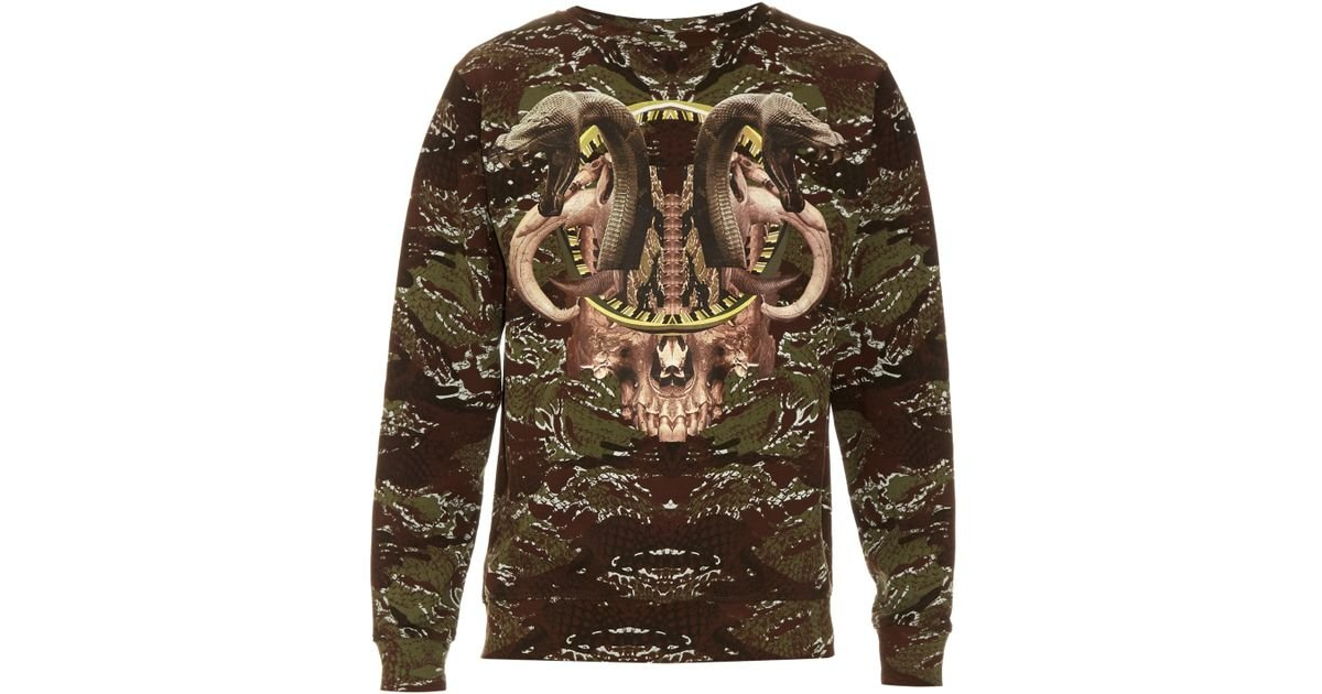 Marcelo burlon Candenas Snake-print Cotton Sweater in Brown for ...