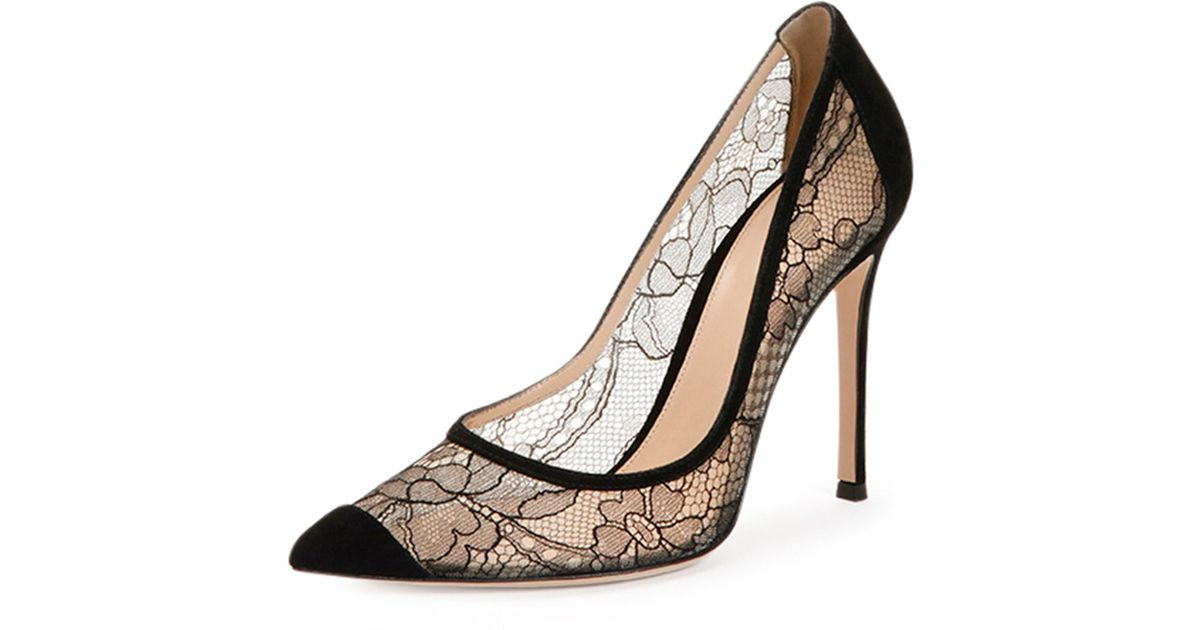 gianvito rossi pointed cap toe lace pump in black lyst. Black Bedroom Furniture Sets. Home Design Ideas