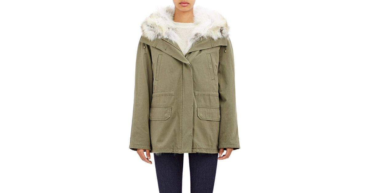 af54f12c9908 Lyst - Army by Yves Salomon Fur-lined Short Canvas Parka in Green