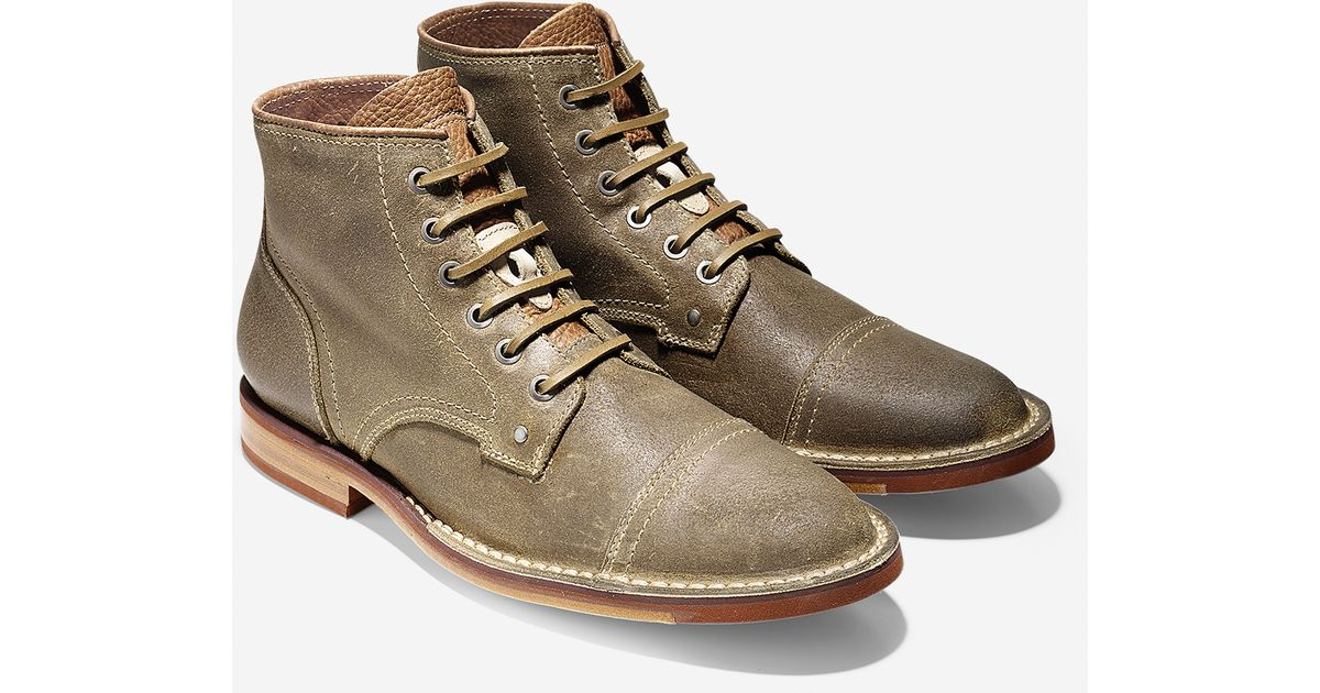 cole haan weston distressed suede boots in green for