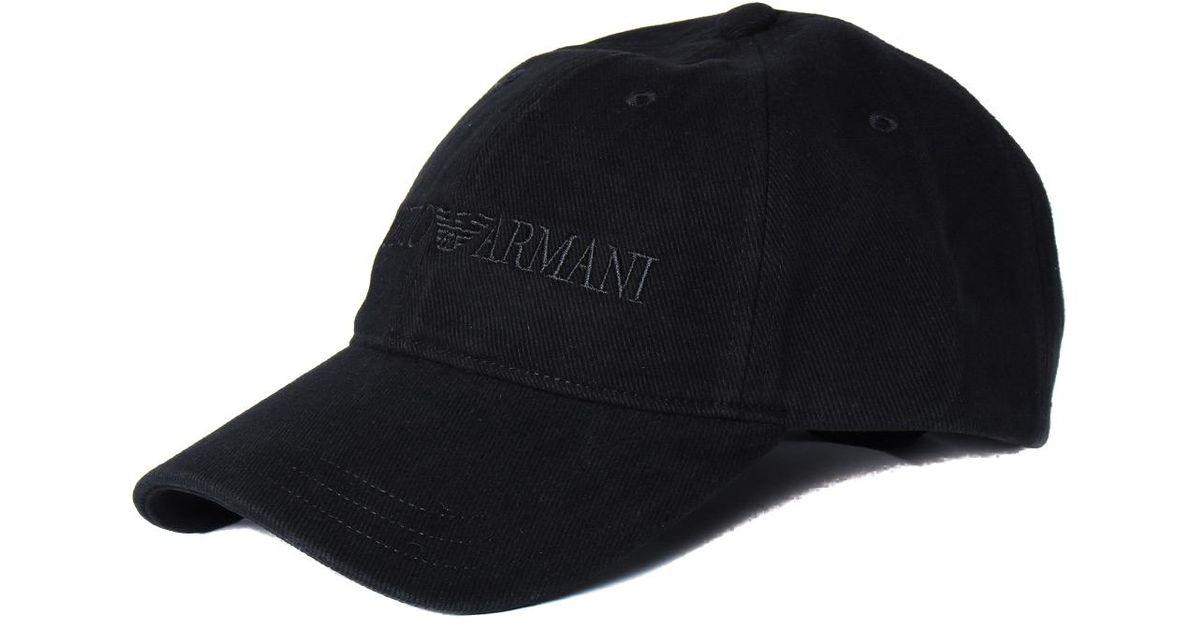 f97aa0bfced Emporio Armani Black Cotton Emporio Logo Baseball Cap in Black for Men -  Lyst