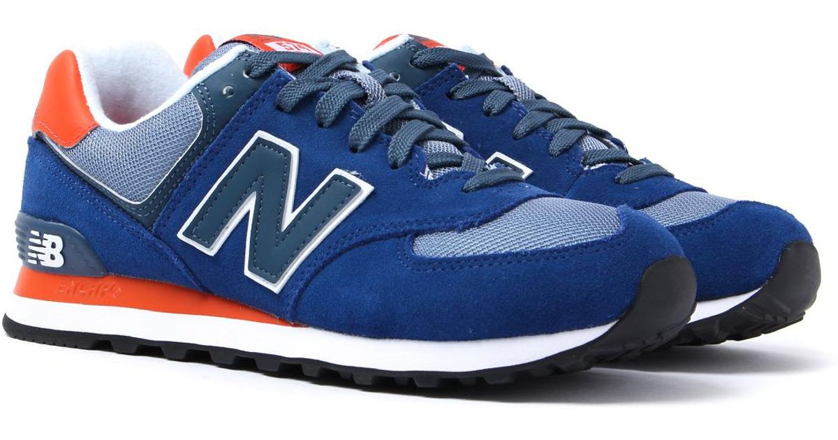 huge selection of fa336 a3355 New Balance 574 Royal Blue   Orange Suede Trainers in Blue for Men - Lyst