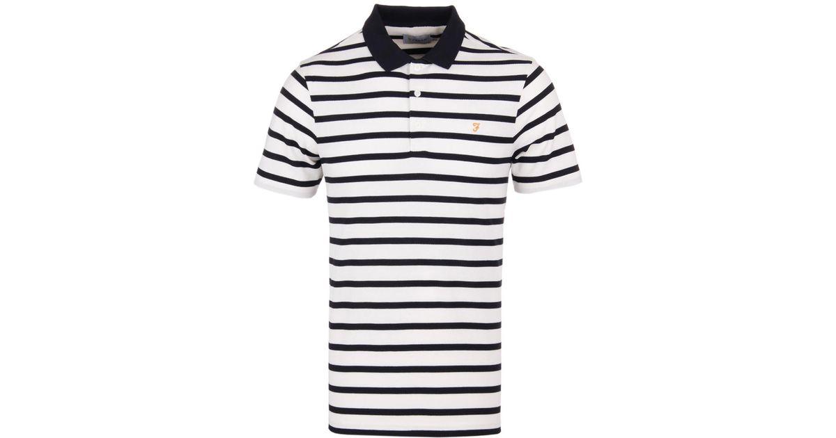f00851062e Farah Hackney Honeycomb Ecru Striped Polo Shirt in Blue for Men - Lyst