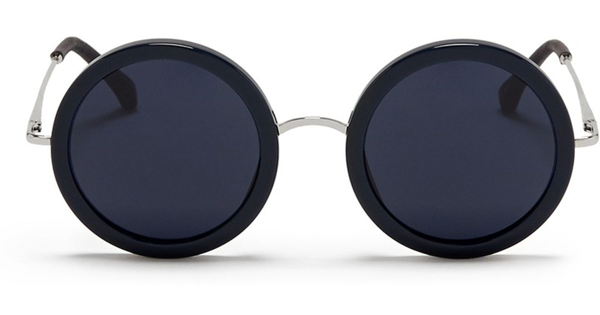 31b596d1278b Lyst - The Row X Linda Farrow Wire Temple Round Frame Sunglasses in Blue