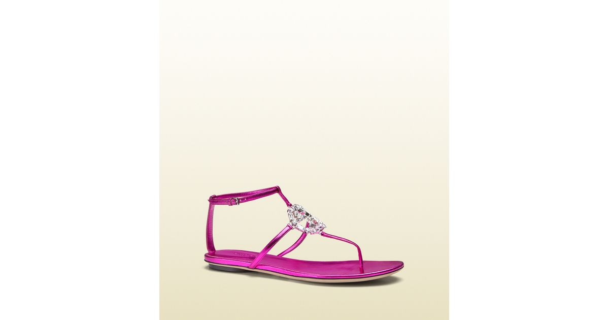 38cb98b4277 Lyst - Gucci Gg Sparkling Metallic Leather Thong Sandal in Pink
