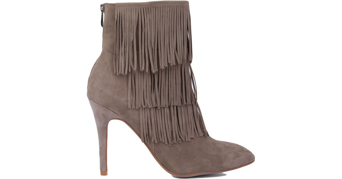 ec259b436c Lyst - Chinese Laundry Kristin Cavallari For Charm Fringe Heeled Booties -  Grey Suede in Gray