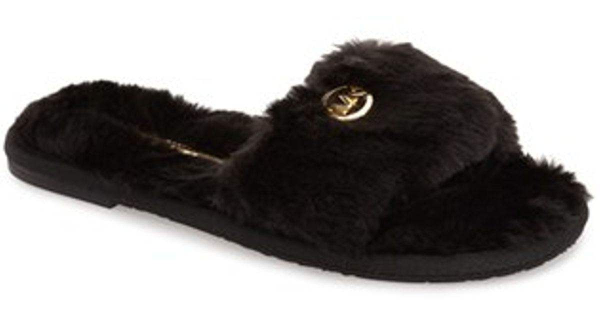 1dc5ef97dce MICHAEL Michael Kors Faux Fur Slide Slipper in Black - Lyst