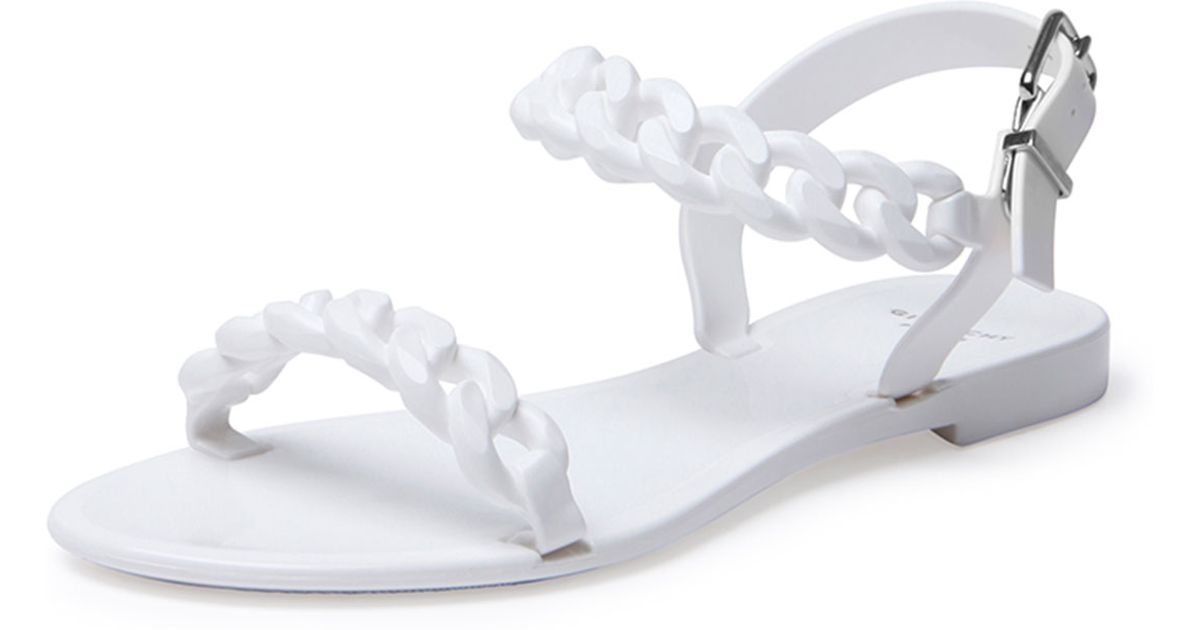 8831b8c5b109 Givenchy Jelly Chain-link Flat Sandal in White - Lyst