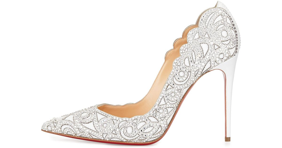 best replica sneaker website - Christian louboutin Top Vague Scalloped Crystal Red Sole Pump in ...