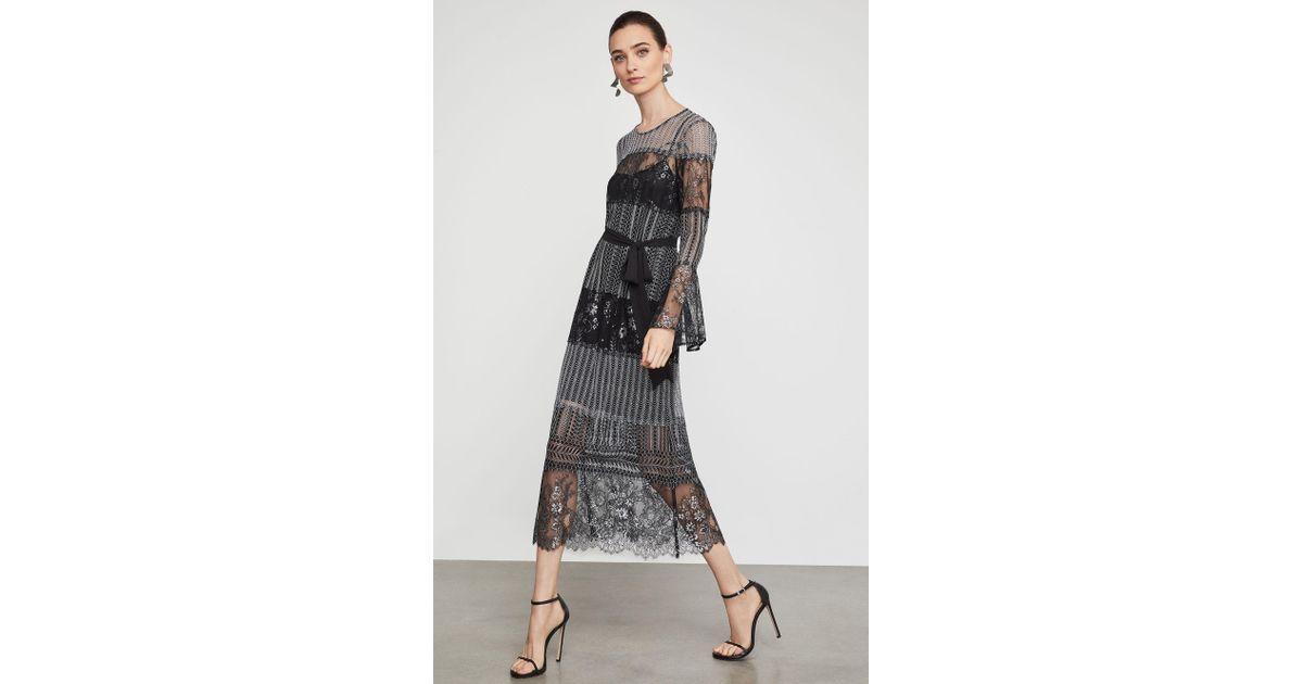 3ee5303a05d6 BCBGMAXAZRIA Metallic Lace Midi Dress in Black - Lyst
