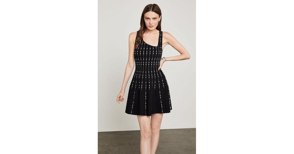 Bcbgmaxazria Bcbg Sleeveless Dot Striped Knit Dress In