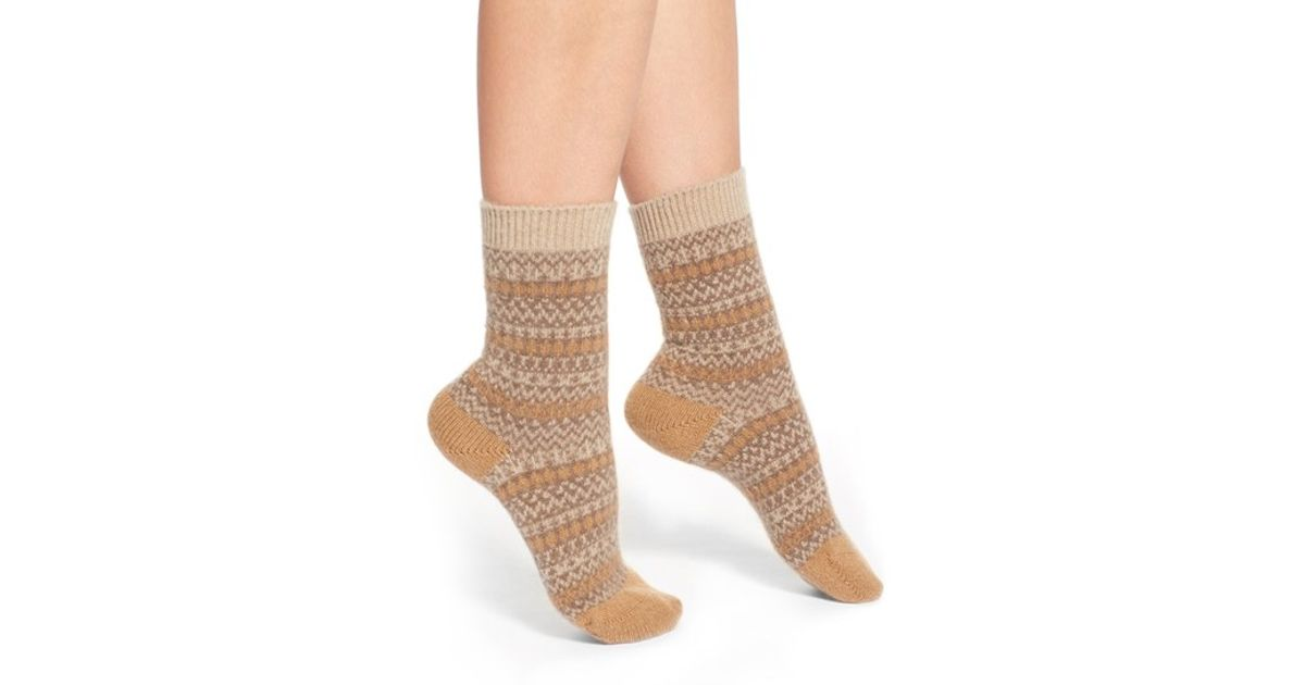 Pantherella 'floria' Fair Isle Cashmere Blend Socks in Brown | Lyst