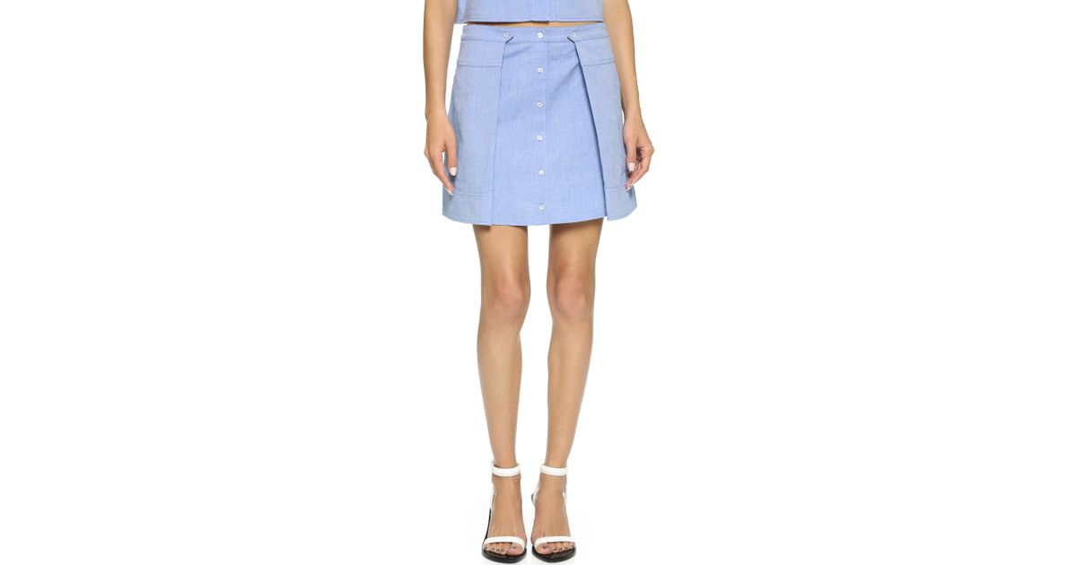 d458cd02e T By Alexander Wang Cotton Oxford Two Fold Miniskirt - Navy in Blue - Lyst