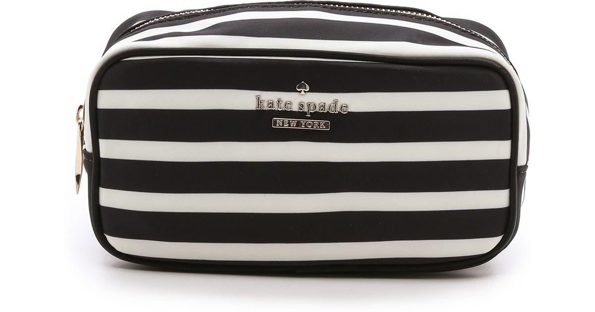 8958977ec599 Lyst - Kate Spade New York Ezra Small Striped Cosmetic Case - Blackcream in  Black
