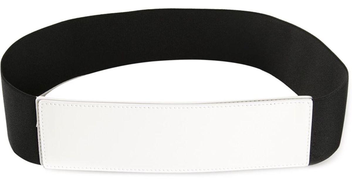 jil sander navy wide elastic velcro belt in white lyst